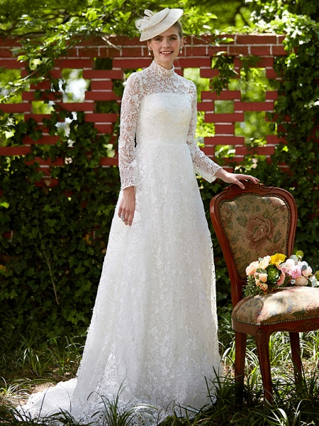 A-Line Wedding Dresses Illusion Neck Court Train All Over Lace Long Sleeve Floral Lace_6