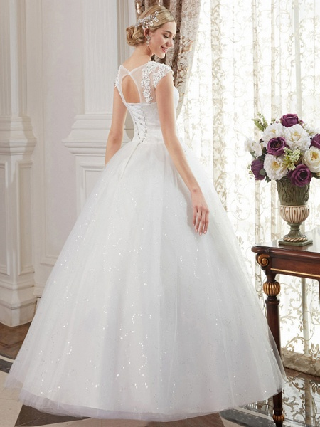 Ball Gown Wedding Dresses Jewel Neck Floor Length Lace Over Tulle Cap Sleeve Romantic Illusion Detail_2