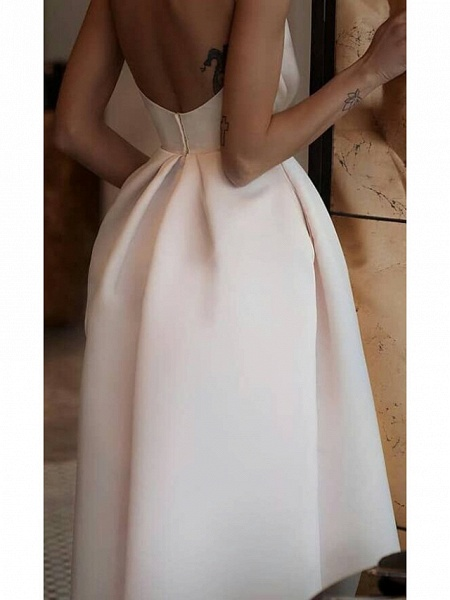 Ball Gown Wedding Dresses Jewel Neck Ankle Length Satin Spaghetti Strap Formal Plus Size_2