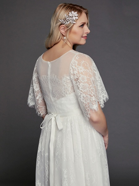 A-Line Wedding Dresses Illusion Neck Jewel Neck Floor Length Lace Tulle Half Sleeve Formal Boho Little White Dress See-Through_9