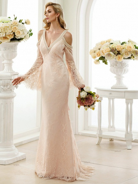 Sheath \ Column Wedding Dresses Plunging Neck Sweep \ Brush Train Sheer Lace Long Sleeve Wedding Dress in Color Open Back Floral Lace_1
