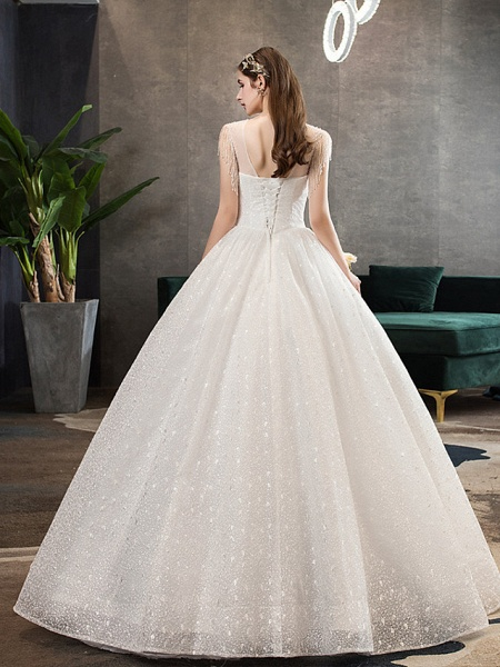 Ball Gown Wedding Dresses V Neck Floor Length Lace Tulle Polyester Sleeveless Formal Romantic Sexy_3