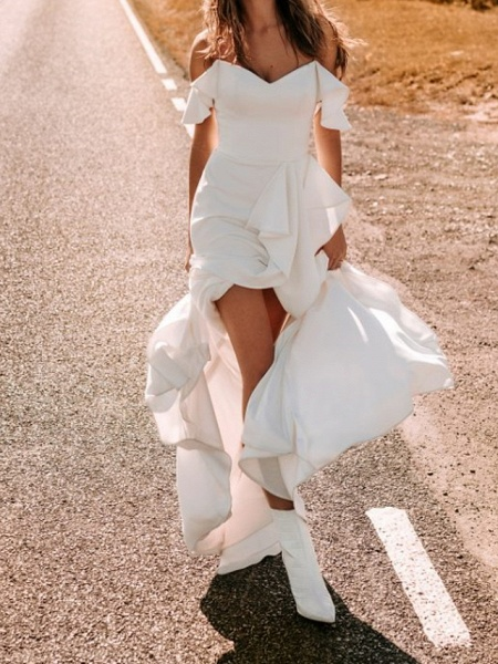 A-Line Wedding Dresses Off Shoulder Sweep \ Brush Train Chiffon Over Satin Short Sleeve Simple_4
