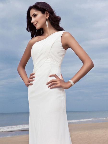 Sheath \ Column Wedding Dresses One Shoulder Sweep \ Brush Train Chiffon Regular Straps Simple Plus Size_6