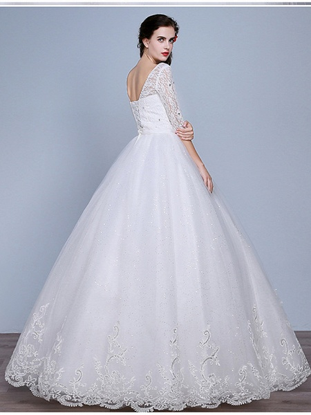 Ball Gown Wedding Dresses Scoop Neck Floor Length Lace Tulle Polyester Half Sleeve Romantic_3