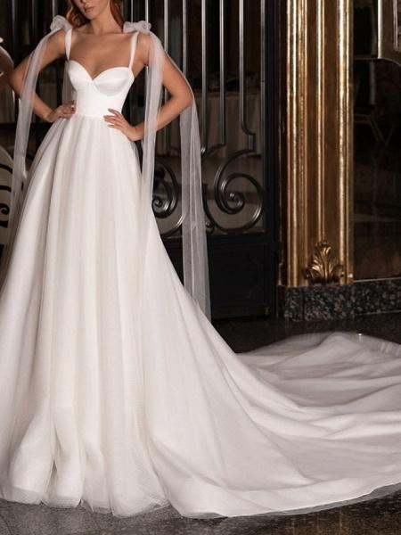 A-Line Wedding Dresses V Neck Spaghetti Strap Sweep \ Brush Train Satin Tulle Sleeveless Simple_1