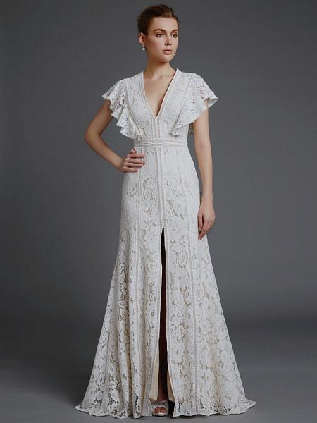 A-Line V Neck Sweep \ Brush Train Lace Sleeveless Boho Wedding Dresses_4