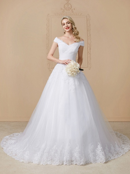 Ball Gown V Neck Cathedral Train Lace Tulle Cap Sleeve Glamorous Illusion Detail Wedding Dresses_1