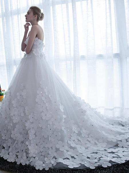 Ball Gown Wedding Dresses Strapless Chapel Train Satin Tulle Strapless Sparkle & Shine_3