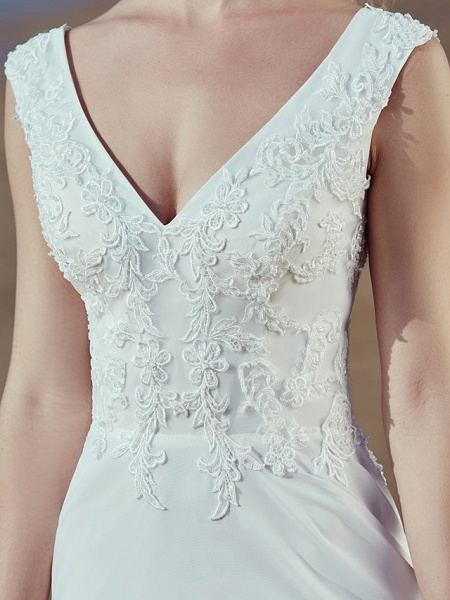 A-Line Wedding Dresses V Neck Sweep \ Brush Train Chiffon Lace Regular Straps Cutouts_9