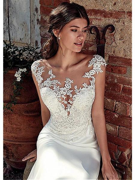 A-Line Wedding Dresses Bateau Neck Court Train Chiffon Lace Tulle Cap Sleeve Illusion Detail Backless_3