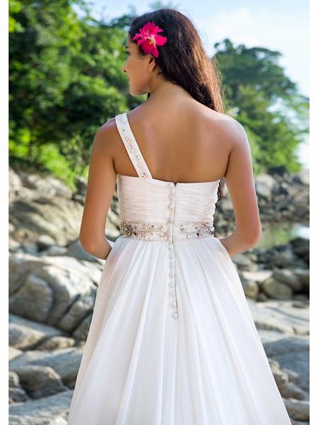 A-Line Wedding Dresses One Shoulder Court Train Chiffon Regular Straps Beach Sparkle & Shine_4