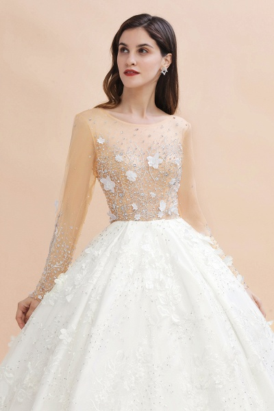 Floral Jewel Beads Long Sleeve Ball Gown Wedding Dresses_4