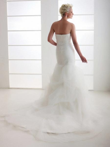 Mermaid \ Trumpet Wedding Dresses Strapless Court Train Organza Satin Sleeveless_2