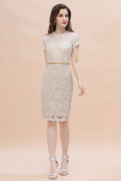 Tulle Lace Beads Belt Short Sleeves Mother of Bride Dress_4