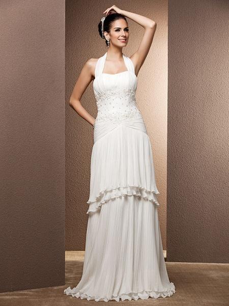 Sheath \ Column Wedding Dresses Halter Neck Floor Length Chiffon Sleeveless_1