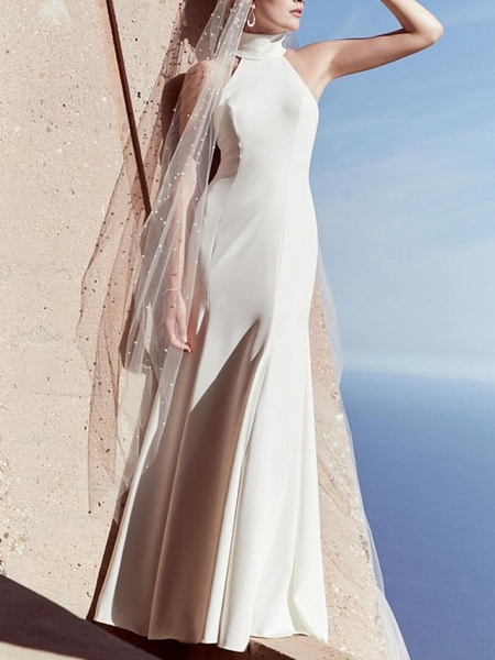 Sheath \ Column Wedding Dresses High Neck Sweep \ Brush Train Satin Regular Straps Plus Size_1