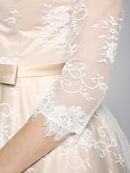 A-Line Wedding Dresses Bateau Neck Ankle Length Lace Over Satin 3\4 Length Sleeve Casual Boho See-Through Cute Illusion Sleeve_11