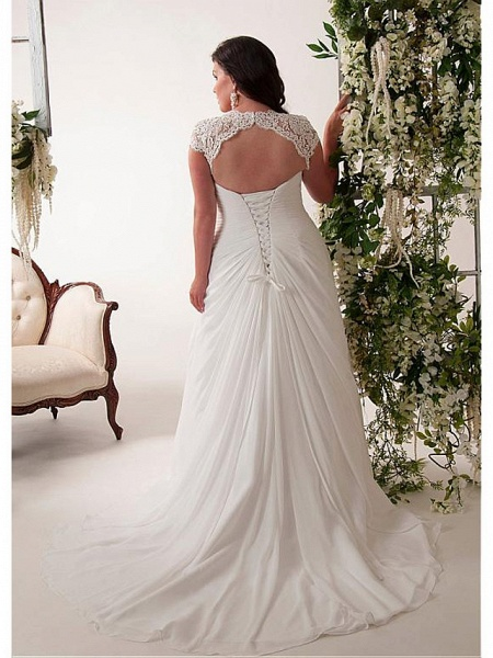 Mermaid \ Trumpet Wedding Dresses V Neck Court Train Chiffon Lace Sleeveless Simple Plus Size_2
