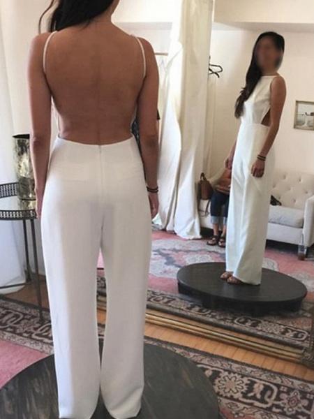 Jumpsuits Wedding Dresses Jewel Neck Floor Length Satin Sleeveless Simple Sexy Backless Modern_2