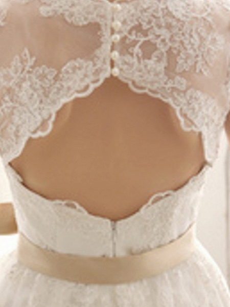 A-Line Wedding Dresses V Neck Knee Length Lace Sleeveless Vintage Little White Dress 1950s_5