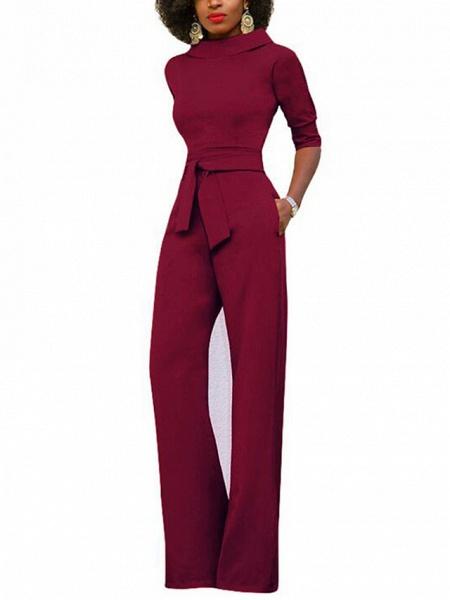 Women's Wide Leg Daily \ Weekend Turtleneck Wine White Black Wide Leg Slim Jumpsuit_3
