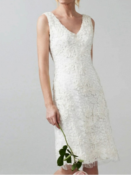 Sheath \ Column Wedding Dresses V Neck Knee Length Lace Regular Straps Casual Little White Dress Illusion Detail_1