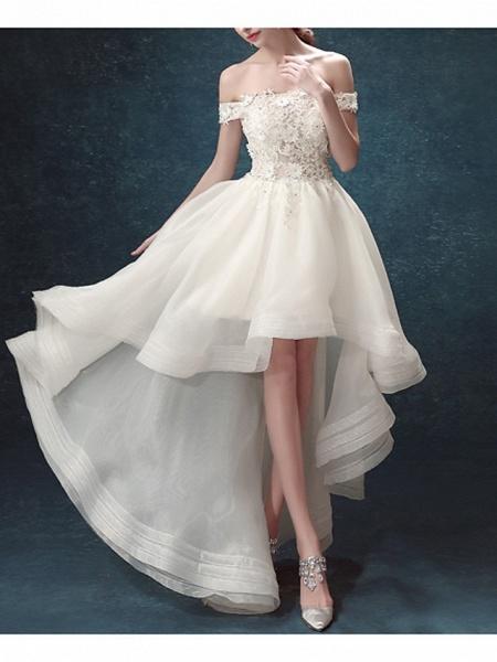 A-Line Wedding Dresses Off Shoulder Asymmetrical Chiffon Tulle Sleeveless Formal Illusion Detail Plus Size_2
