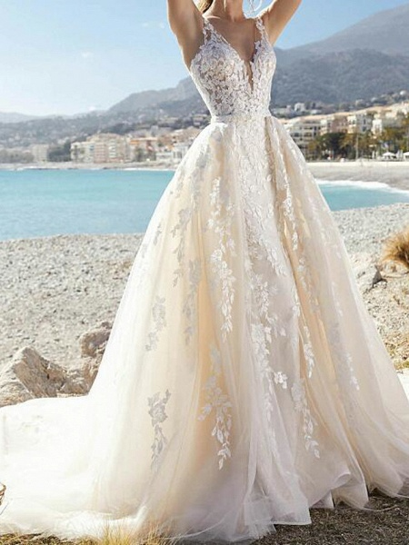 A-Line Wedding Dresses V Neck Court Train Lace Tulle Sleeveless Formal Sexy See-Through_1