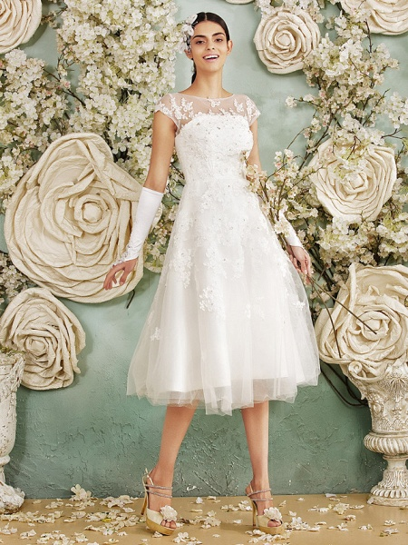 A-Line Wedding Dresses Scoop Neck Tea Length Lace Over Tulle Cap Sleeve Vintage Little White Dress Illusion Detail 1950s_8