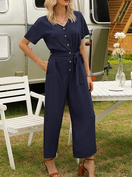 Women's Yellow Navy Blue Jumpsuit_1