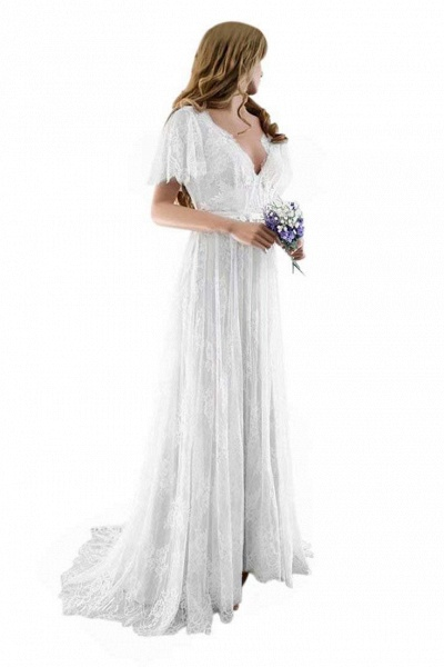 Gorgeous V-Neck Cap Sleeves Lace Wedding Dresses_3