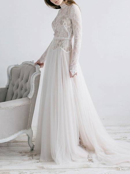 A-Line Wedding Dresses High Neck Sweep \ Brush Train Tulle Long Sleeve Casual Boho See-Through Illusion Sleeve_1