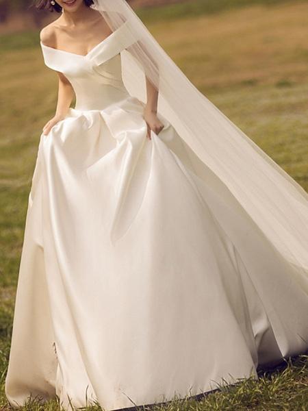 A-Line V Neck Court Train Chiffon Regular Straps Formal Plus Size Wedding Dresses_1