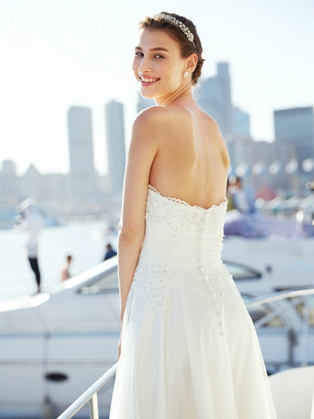 A-Line Wedding Dresses Strapless Asymmetrical Tulle Strapless Casual Beach Little White Dress Backless_12