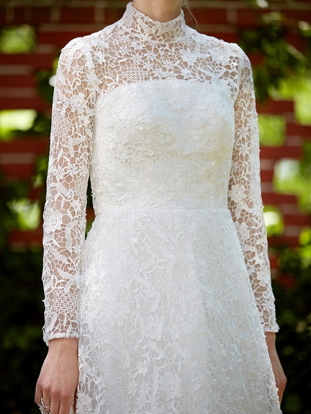 A-Line Wedding Dresses Illusion Neck Court Train All Over Lace Long Sleeve Floral Lace_11