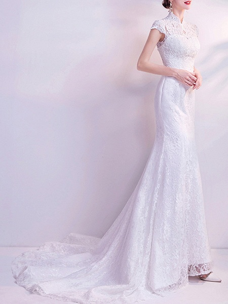 Mermaid \ Trumpet Wedding Dresses High Neck Court Train Chiffon Tulle Cap Sleeve Formal Illusion Detail Plus Size_1
