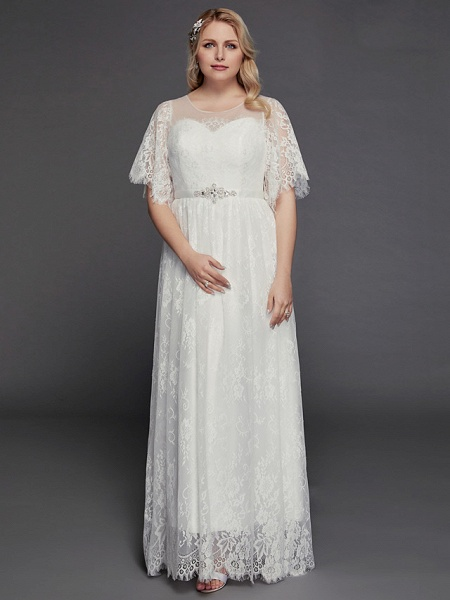 A-Line Wedding Dresses Illusion Neck Jewel Neck Floor Length Lace Tulle Half Sleeve Formal Boho Little White Dress See-Through_5