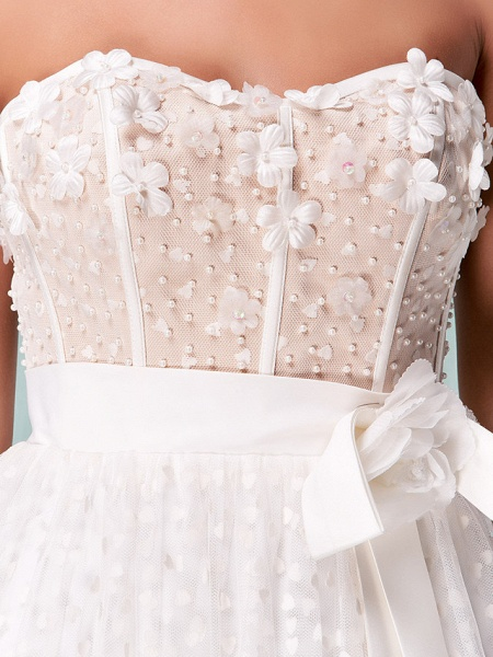 Princess A-Line Wedding Dresses Sweetheart Neckline Knee Length Tulle Strapless Little White Dress_8