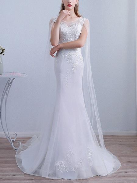 Mermaid \ Trumpet Wedding Dresses Jewel Neck Sweep \ Brush Train Lace Long Sleeve Beach Cape_1