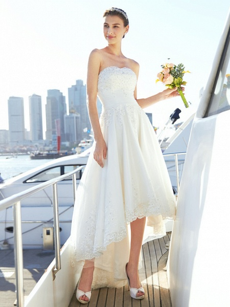 A-Line Wedding Dresses Strapless Asymmetrical Tulle Strapless Casual Beach Little White Dress Backless_6