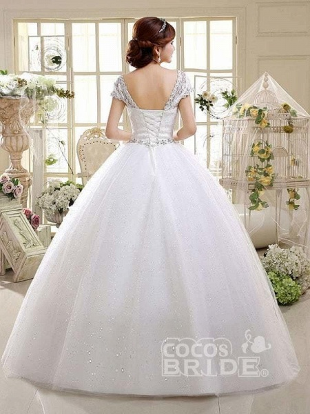 Cheap Bridal Beaded Sequin Crystal Lace Wedding Dress_3