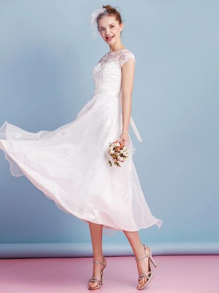 A-Line Wedding Dresses Bateau Neck Tea Length Organza Cap Sleeve Simple Casual Illusion Detail_9
