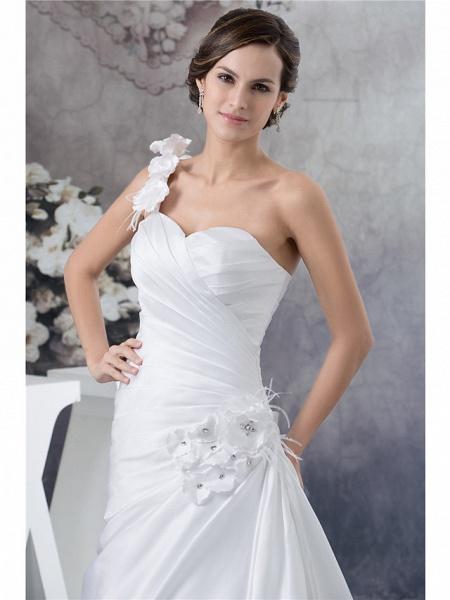 A-Line Wedding Dresses One Shoulder Court Train Satin Spaghetti Strap_4