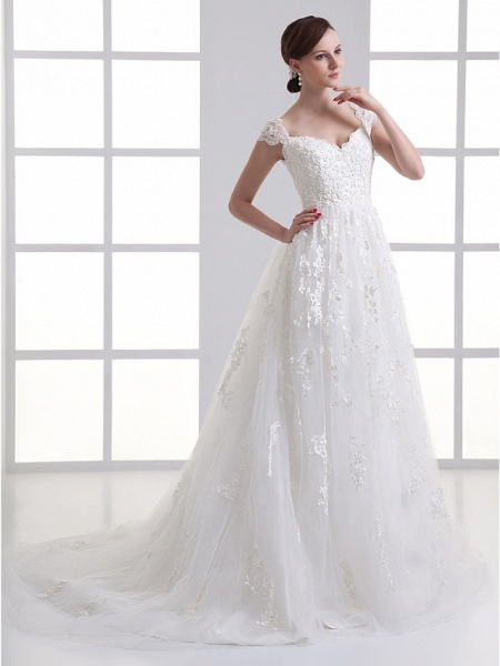 A-Line Sweetheart Neckline Court Train Lace Satin Tulle Cap Sleeve Wedding Dresses_2