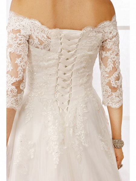 A-Line Off Shoulder Floor Length Lace Tulle Lace Over Tulle 3\4 Length Sleeve Floral Lace Illusion Sleeve Wedding Dresses_9