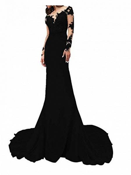Mermaid \ Trumpet Wedding Dresses V Neck Sweep \ Brush Train Polyester Long Sleeve Formal Plus Size Black Modern_2