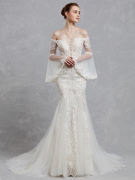 Mermaid \ Trumpet Off Shoulder Court Train Lace Tulle Long Sleeve Romantic Boho See-Through Backless Illusion Sleeve Wedding Dresses_5
