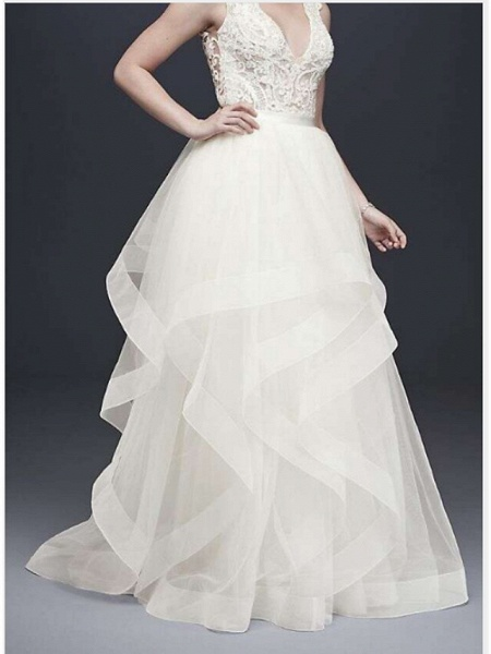 A-Line V Neck Floor Length Tulle Sleeveless Casual Plus Size Wedding Dresses_1