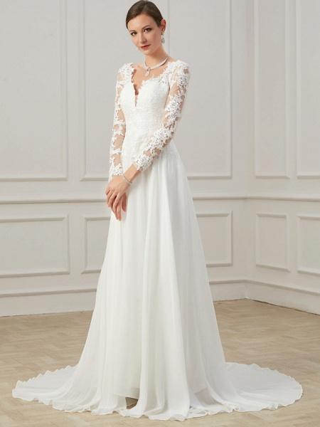 Sheath \ Column Wedding Dresses V Neck Sweep \ Brush Train Lace Tulle Long Sleeve Formal Plus Size Illusion Sleeve_4